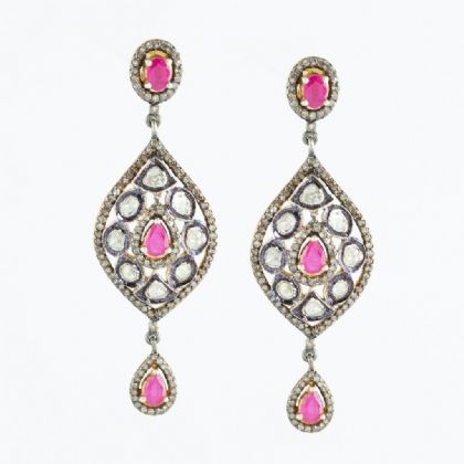 Rose Cut Diamonds, Kundan Setting with Rubies